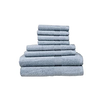 Pure Extravagance Comfort Line, 8 Piece Towel Set; 2 Bath Towels, 2 Hand Towels and 4 Wash Towels - Cotton - Machine Washable, Hotel Quality, Quick Dry, Super Soft and Highly Absorbent, Lake