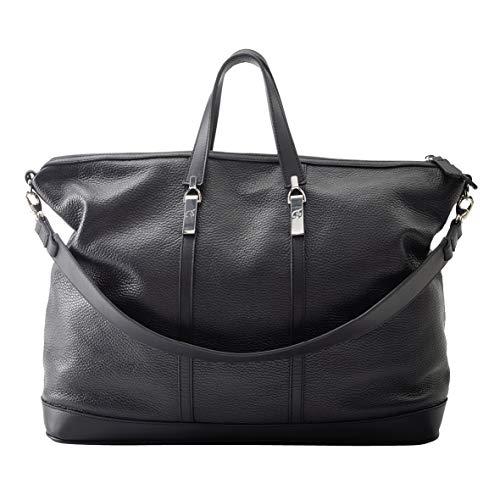 LAMARTHE PARIS - Elegante Echtleder Unisex Tasche, Designer Weekender Reisetasche & Sporttasche mit viel Platz, für Damen und Herren, inkl. Staubbeutel, schwarz