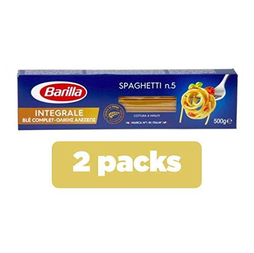 Barilla Spaghetti integrali n. 5, set di 2confezioni blu da 500 g ciascuno