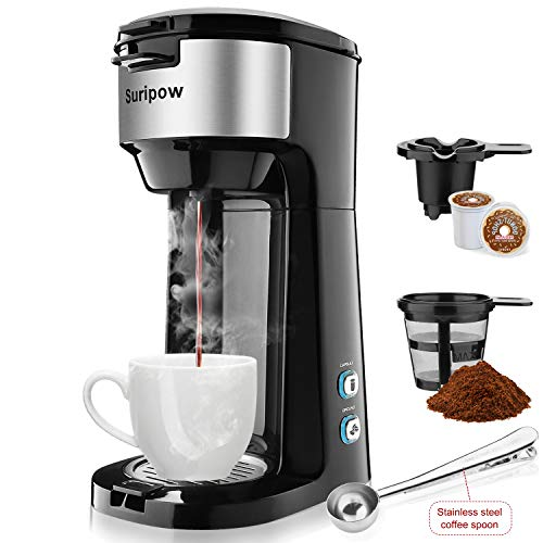 Suripow Single Serve Coffee Tea Maker Brewers for K-Cup Pod &Ground Powder,Brew Strength Control with Compact Design, 8 to 14 Oz, Thermal Drip Instant Coffee Capsule Machine, Self Cleaning Function