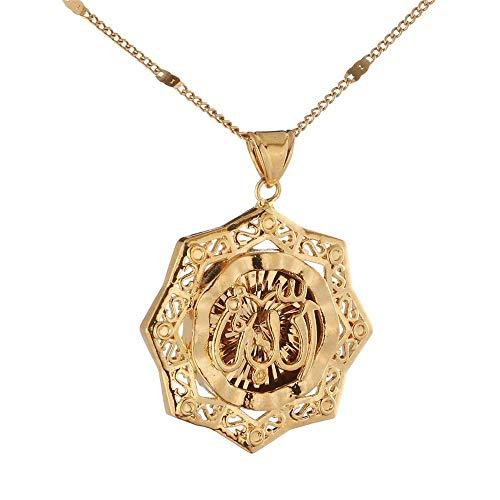 N/C Collar de moda Islam Allah colgante árabe color oro collar clásico musulmán joyería