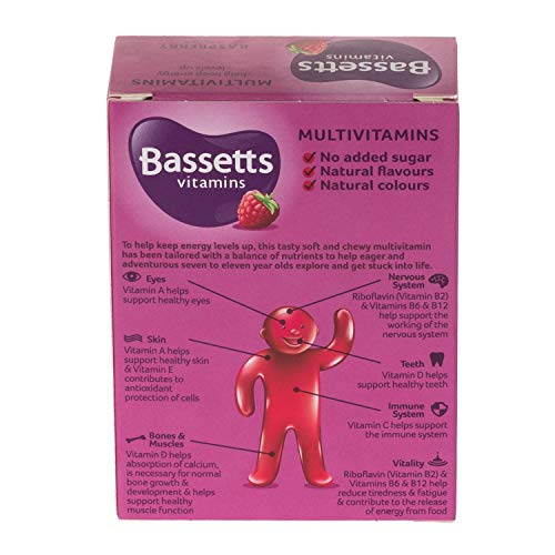Bassetts 7-11 Years One A Day Soft and Chewy Multivitamin Raspberry Flavour, 30 Pastilles