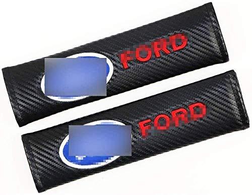 2 Piezas Almohadillas para Cinturón de Seguridad para Ford Kuga Ecosport Fiesta Focus Escort Edge Everest, con Marca de Logo Protectores Hombro Funda Acolchada CóModas Coche Interior Accesorios