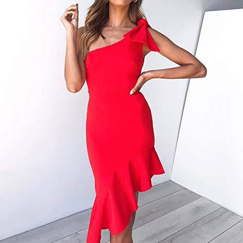 HaiQianXin Vestido de Encaje ceñido sin Mangas con Volantes sin Mangas y con Adornos para Mujer Sexy (Color : Red, Size : XL)
