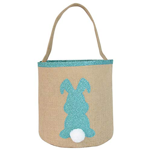 Ktyssp Easter Basket Holiday Bunny Printed Canvas Gift Carry Candy Bag Bunny Packet (Sky Blue)
