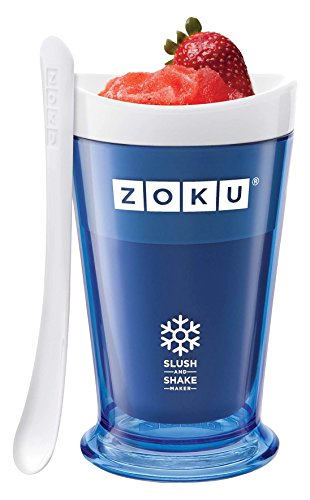 Zoku Slush and Shake Maker, Set of 2, Compact Make and Serve Cup with Freezer Core Creates Single-serving Smoothies, Slushies and Milkshakes in Minutes, BPA-free, Gift Box, Green and Orange
