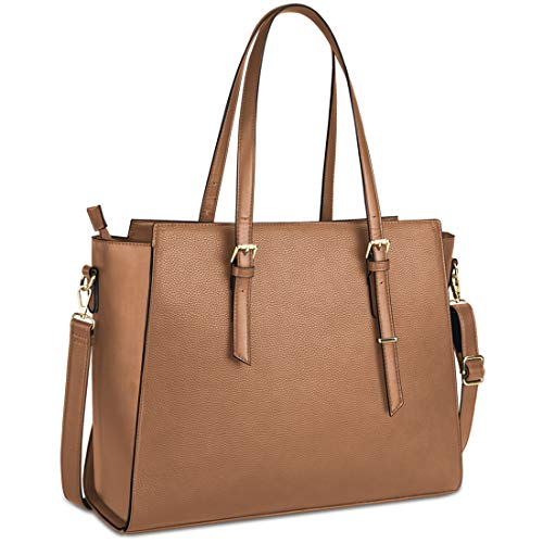NEWHEY Laptop Bags for Women Large Leather Handbags Ladies Laptop Tote Bag Business Work Shoulder Bag Lightweight 15.6 Inch Brown