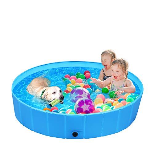 femor Hundepool Swimmingpool Für Hunde und Katzen Schwimmbecken Hundebadewanne Faltbarer Pool mit PVC-rutschfest Verschleißfest Für Kinder L