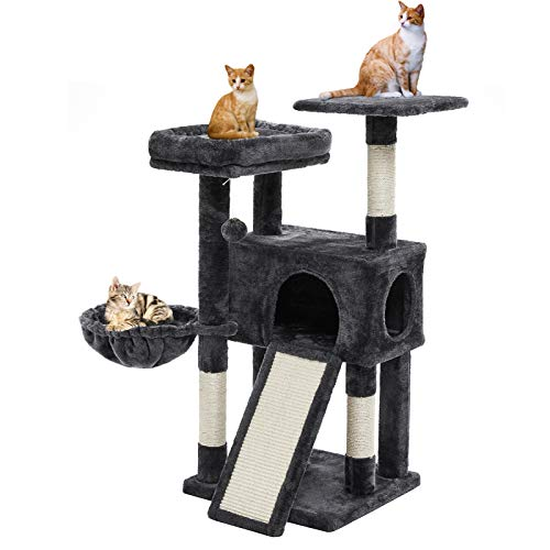 SUPERJARE Cat Tree Condo with Scratching Board & Posts, 40 Inches Activity Kitten Tower Center with...