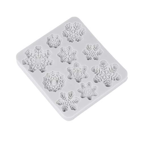 Cabilock Molde de Copo de Nieve de Navidad de 10 Cavidades Molde de Silicona para Fondant Molde de Chocolate para Decoración de Pasteles Dulces de Chocolate (Color Aleatorio)