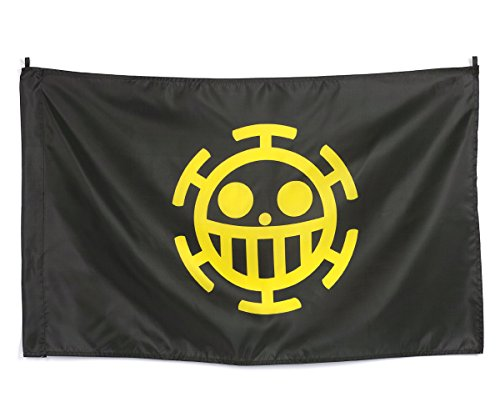 CoolChange One Piece Flagge mit Jolly Roger der Heart Piratenbande von Trafalgar Law 94x63cm, Gelb