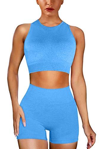EUYZOU Womens Seamless 2 Piece Workout Sets - High Waist Workout Yoga Outfits Sports Gym Clothes - Bra&Shorts Blue S