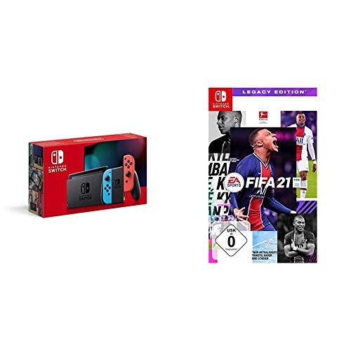 Nintendo Switch Konsole - Neon-Rot/Neon-Blau (2019 Edition) + FIFA 21 - [Nintendo Switch]