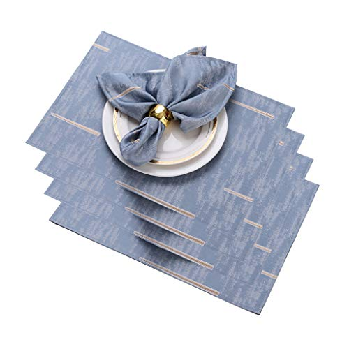 HAOXIANG Placemats 4Pcs, Modern Rectangular Household Thickened Table Mat, Polyester Heat-Resistant Non-Slip Waterproof Kitchen Dinner Table Protector Mats,A