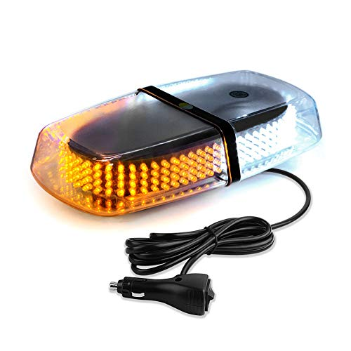 YITAMOTOR 240 LED Roof Top Strobe Lights, 12V-24V Amber White High Intensity Emergency Warning Safety Flashing Beacon Lights Bar with Magnetic and 10 ft Straight Cord for Car Trailer Roof Safety