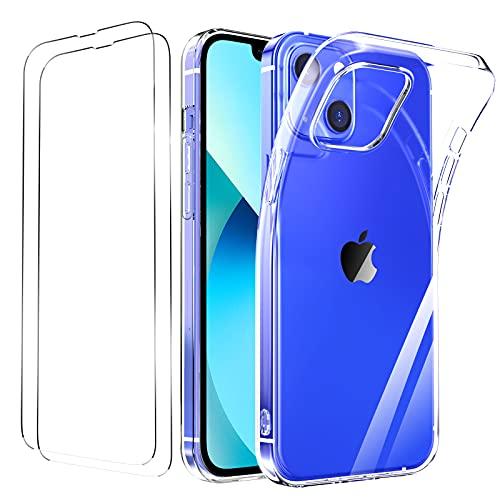 Ikziwreo - Funda Compatible con iPhone 13, [2 Pack Pantalla in Cristal Templado] [Funda de Teléfono Transparente] TPU Protectora de Silicon a Suave Ultrafina 6,1 Pulgadas - Transparente