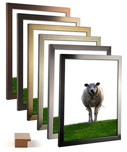 myposterframe 20 x 25 cm Juno Metallfarbig Bilderrahmen 25 x 20 cm Farbwahl Bronze Dekor mit Kunstglas klar 1 mm