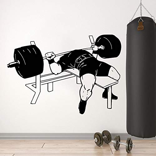 Bodybuilding Wandtattoo Muskeltraining Fitness Übung Langhantel Übung Bankdrücken Fitnessstudio Innendekoration Vinyl Fenster Aufkleber 57x80 cm