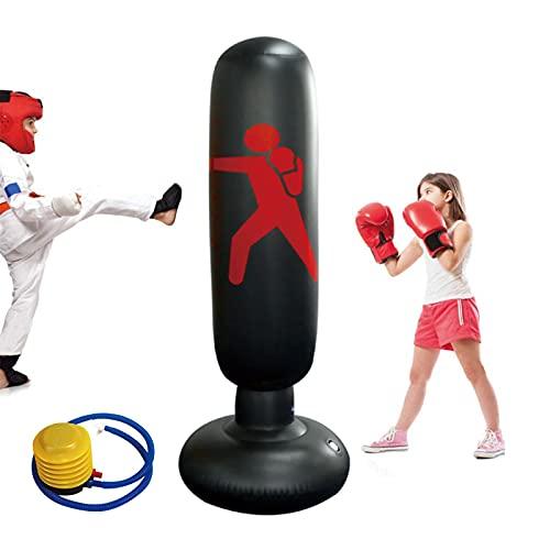 Standboxsäcke Boxsack Kinder 160cm, Aufblasbare Boxsäule Tumbler Kinder Üben von Karate, Fitness Dekompression Sandsäcke ,Taekwondo,Kick Kampftraining mit Luftpumpe Enthalten