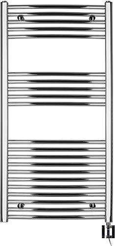 anapont elektrischer Badheizkörper - Chrom gebogen - Timer-Funktion - Handtuchheizkörper - Badheizung elektrisch - Handtuchheizung - Made in Germany