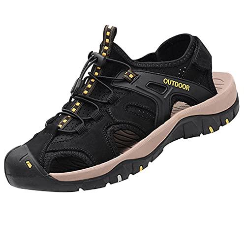 Sandalias planas para,Sandalias para Hombre - Sandalias de Verano, Zapatos de Playa, Entresuela de para Caminar y Viajar,black-48