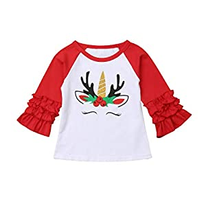 Xmas Baby Girls Unicorn Shirt Long Sleeves Christmas Print Color Block Top Blouse Tunic Outfit for 1-5Years
