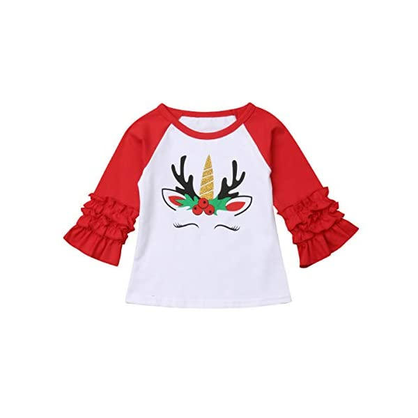 Xmas Baby Girls Unicorn Shirt Long Sleeves Christmas Print Color Block Top Blouse Tunic Outfit for 1-5Years 3