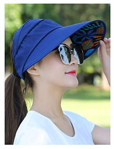 YSHSPED Sombrero de Verano Sombreros Sombreros para Mujeres Viseras Hat Sombrero Sombrero Casquillo Negro Casual Mujeres Gorras de Verano Panalón de Caballo Sombrero de ala Ancha (Color : Navy)