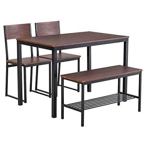 homcom Set Tavolo con Panca 2 Posti e 2 Sedie Stile Industriale in Legno e Metallo per Soggiorno e Cucina Nero e Marrone