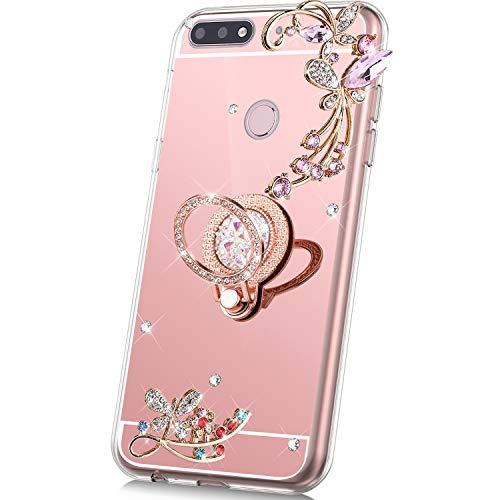 JAWSEU Compatibel met Huawei Y7 2018 spiegel, glanzend roze goud