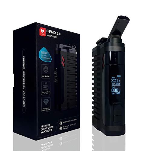 FENiX 2.0 Vaporizer *Schwarz* Verdampfer für Kräuter,Harze,Wachse + ECHTE KONVEKTION!! + neueste Version 2019 + auswechselbare Titankammer + 4400 mAh-Akku und vieles mehr.! KEIN NIKOTIN!!