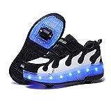 HANHJ Zapatos para niños con ruedas dobles LED Patines de ruedas desmontables para skateboread, zapatos de ruedas invisibles, zapatos de polea para exteriores y interiores, color blanco 34