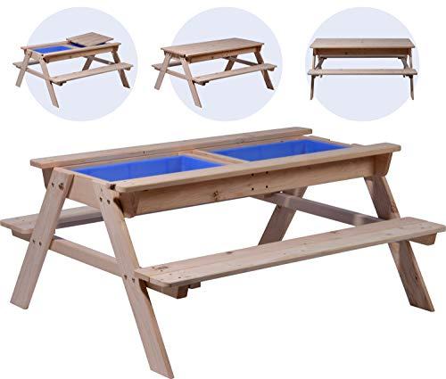 dobar 94361FSCe Kinder Picknicktisch inklusive Matschkiste, Spiel-Tisch, FSC-Holz, 107 x 94 x 50,5 cm