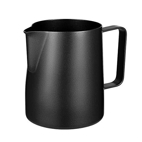 BESTOMZ Milchkännchen, Milk Pitcher Milchkanne aus Edelstahl, Milch Aufschäumen für Cappuccino und Latté (Black)