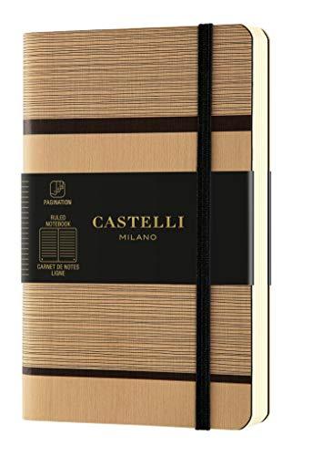 Castelli Milano TATAMI Beige cappuccino Taccuino 9x14 cm Pagina a Righe Copertina Flessibile 192 Pag