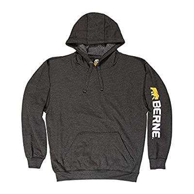Berne Men's Signature Sleeve Hooded Pullover, X-Large Regular, Charcoal from Berne Apparel Company