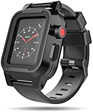 Waterproof Apple Watch 38mm Case,Mangix Shockproof Impact Resistant Rugged Protective Case with Bulit-in Screen Protector and Premium Soft Strap Bands for Apple Watch Series 3 & 2 38mm (Black)