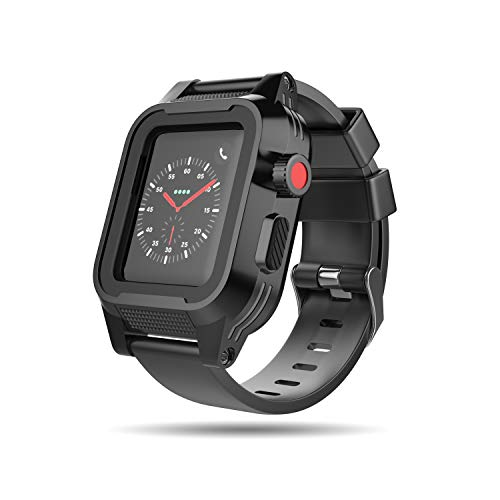 Capa para Apple Watch à prova d'água, Mangix à prova de choque, resistente a impactos, capa protetora robusta com película protetora Bulit-in e pulseiras de alça macia premium para Apple Watch Series 3 e 2 42 mm, 38MM Black