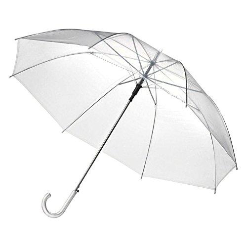 Parapluie Transparent,PanDaDa Parapluie Pliant, Parapluie Transparent,Parapluie Transparent, Parapluie de Mariage avec Une poignée en Forme de C,Semi-Automatique,Blanc (Transparent)
