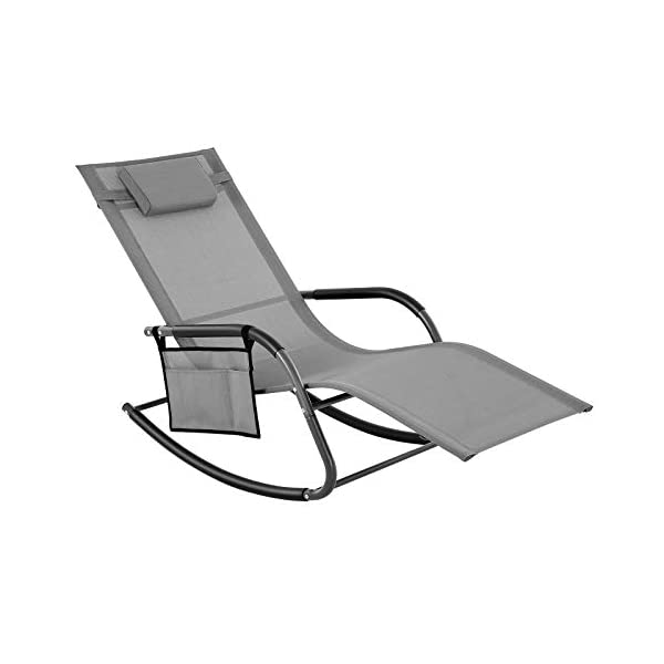 SONGMICS Sonneninsel, Gartenstuhl, Sonnenliege, Schaukelstuhl mit Kopfstütze und Seitentasche, Eisengestell…