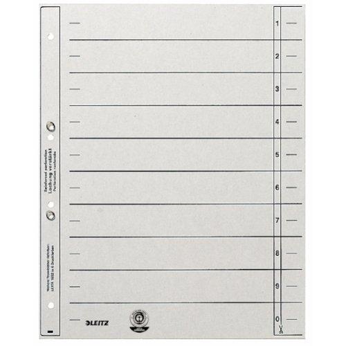 Leitz 1654-00-85 Trennblätter A4, geöst 200g/qm Inh.100, grau