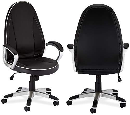 Furnhouse Ergonomisch zwart kunstleer bureaustoel Speedy met armleuning, in hoogte verstelbaar, draaistoel, belastbaar 150 kg, L61xB66xH119cm