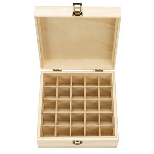 Caja para aceites esenciales de madera, aromaterapia con 25 compartimentos, caja para aceites esenciales de madera, estuche de maquillaje, bolsa de viaje, expositor de presentación
