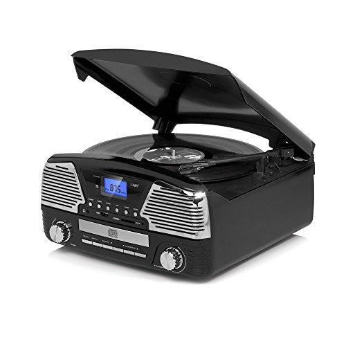 Dmail - Radio Tocadiscos multifunción Vintage, Color Negro