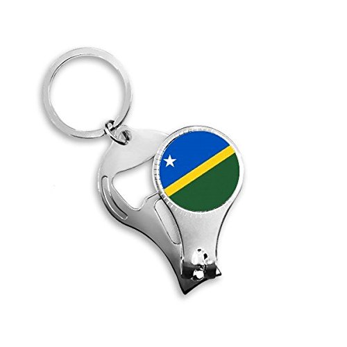 Salomonen National Flagge Ozeanien Country Symbol Mark Muster Metall Schlüsselanhänger Ring Multifunktions-Nagelknipser Flaschenöffner Auto Schlüsselanhänger Best Charm Geschenk