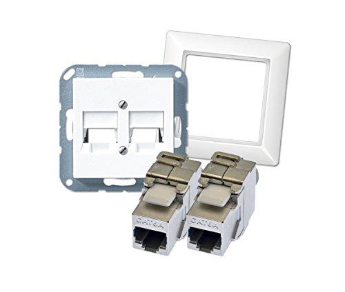 tsnetworks Datendosen Set- Jung Abdeckung 2fach A569-2NWEWW u. 1fach Rahmen AS581WW inkl. 2X Keystone Jack Module Cat.6A 500Mhz 10Gbit …