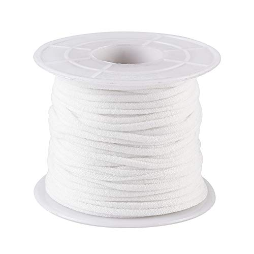 Fashewelry 21.87 Yards White Elastic Band Stretchy Nylon Cord Fabric Elastic Ear Loop Rope String 2.5-3mm for Ear Tie Craft Sewing