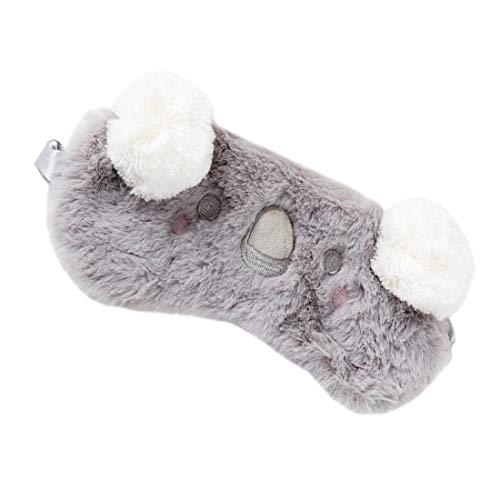 Schlafmaske, niedlich, flauschig, 3D, Tier-Augenmaske zum Schlafen und Reisen, atmungsaktiv, Cartoon-Maske, Kinder, Erwachsene, Frauen (Koala-Grau)