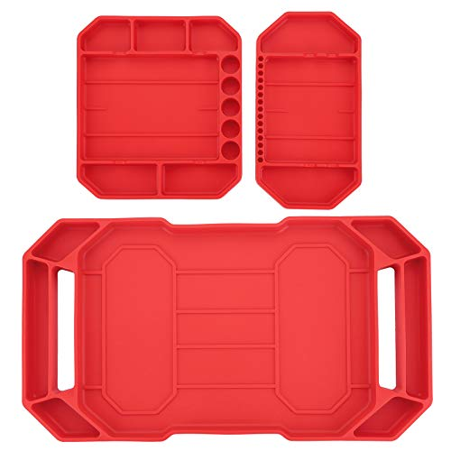 OwnMy Set of 3 Flexible Silicone Tool Trays Non-Slip Large Tool Organizer Tool Storage Tool Mats Grip Tool Mat Tool Holder - Heat Resistant Non-Magnetic Socket Screw Organizer Hardware Tray Mat, Red