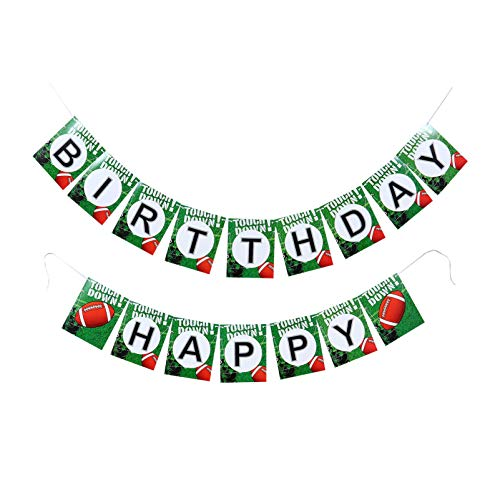 Amosfun Happy Birthday Banner Football Rugby Hanging Bunting Sports Boy Kids Rustic Decorations Party Garland